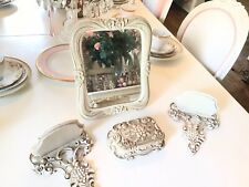 Vtg Syroco Set Mirror Pair Shelves Trinket Box Vanity Set Flowers Roses