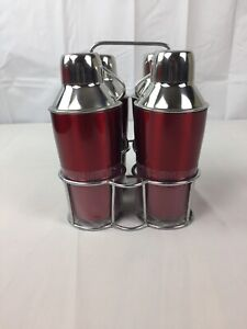 Home Stainless Steel Red Cocktail Shaker Mixer Drink 4 Set New