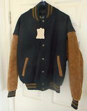 Nos! Luna Pier Black Wool+Tan Suede Leather Sleeves Hotrod Varsity Letterman Xxl