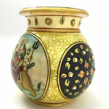 Meenakari Marble Pot Vase India Handmade Handpainted Durga and Saraswati