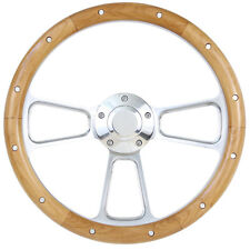 "Ford Mustang 14"" Billet & Real Alder Wood Steering Wheel Gorgeous! SHIPS FREE!"