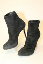Christian Louboutin USED Womens 8 38 Suede Zip Stiletto Italy Made Ankle Boots