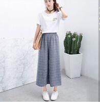 Korean Style Elastic Waist Plaids&Checks Wide Leg Women Loose Casual Harem Pants