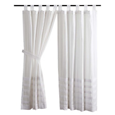 French Country Shabby Chic Curtains Lace Trimmed Tab Top White 2x101.6x213cmLong