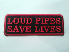 BIKER SLOGAN SEW ON / IRON ON PATCH:- LOUD PIPES (b) BLACK & RED STRIPE