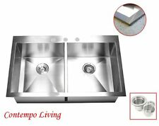 "36"" Stainless Steel Double Bowl 50/50 Topmount Drop In Kitchen Sink"