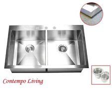 "36"" Stainless Steel Double Bowl 50/50 Topmount Drop In Kitchen Sink"