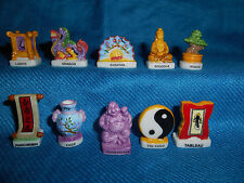 JAPANESE Icons SYMBOLS Japan CULTURE Set of 10 Figurines FRENCH Porcelain FEVES