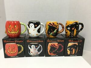 Susan Winget Mugs Halloween Cat Ghost Witch Pumpkin Ceramic Set of 4