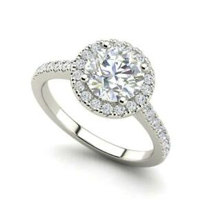 Pave Halo 2.45 Carat SI1/D Round Cut Diamond Engagement Ring White Gold