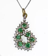 Emerald and 0.75ct Diamond (G VS) Pendant in 18ct Gold, with Chain