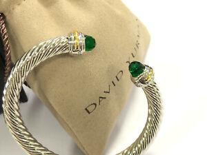 David Yurman Cable Sterling Silver 925 Bracelet Green Emerald 14K Gold 7mm