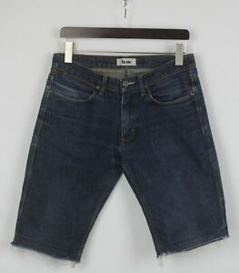 ACNE MAX RAW Men's W33 Rigid Zip Fly Dark Blue Denim Shorts 25373-JS