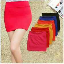 Women Solid Elastic Package Hip Mini Skirts Office High Waist Skinny Short Skirt