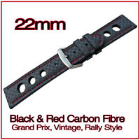 • 22mm Black Carbon Fibre, Red Stitched, Leather Grand Prix Rally Watch Strap •