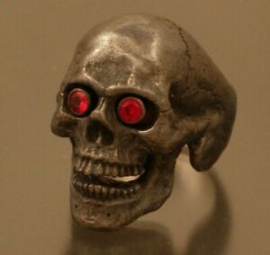 Sterling silver skull ring  red sapphire eyes ring masonic jewelry 925 handmade