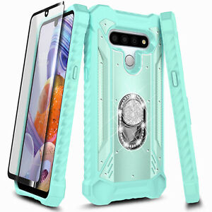 For LG K51 / LG Reflect Case Ring Stand Phone Cover + Tempered Glass Protector