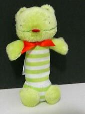 Carters Stripe Green Frog Squeaks Crinkle Baby Toy Plush
