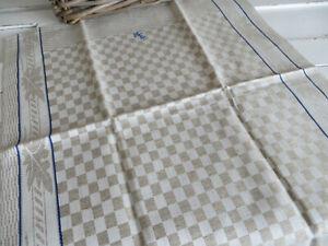 Towel Classic Check Linen  Leaves   Blue Stripes Monogram ME Unused German