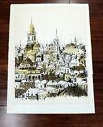 "Sami Briss 1930 Lithograph Print Singed & Numbered Jerusalem ? 19.5"" X 26.5"""