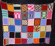 Vintage Hand Crocheted Afghan Throw Blanket Multi color granny square B monogram