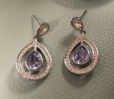 Swarovski Purple Mila Crystal Pierced Earrings Lavender #1126761 EUC