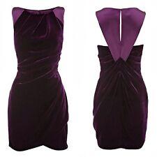 Karen Millen Deep Purple Velvet & Purple Silk Dress Size 10 Brand New Tag