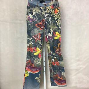 Just Cavalli Butterfly Surreal Denim Jeans Italian 46 US 32