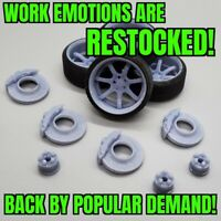 """1/24 Scale 19""""x10"""" 3D Printed Work Emotion Wheels with Tires, Hubs, and Brakes"""