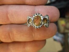 BEAUTIFUL LADIES STERLING SILVER & THREE (3) STONE FACETED YELLOW CITRINE RING
