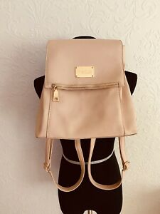 BEBE Womens Taupe Zsa Zsa Ring Handle Square Backpack Bag
