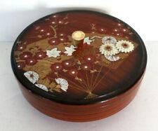 "Vtg HandCrafted Otagiri Round Laquered Trinket Box & Lid 7.5"" Floral Gold Handle"