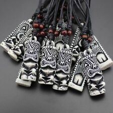 Fashion Cord Yak Tribal Bone Cool White Adjustable Necklace Tiki Pendant Totem