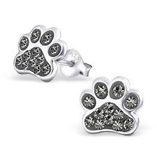 Sterling Silver 925 Dog / Cat Paw Crystal Stud Earrings - Grey