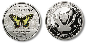 Congo 2014 Large Silver Color  Proof 30 Francs -Machaon Butterfly -mintage 2000