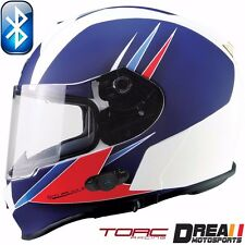 TORC T14B BLUETOOTH MATTE FLAT WHITE RED FULL FACE MOTORCYCLE HELMET DOT XS-XXL