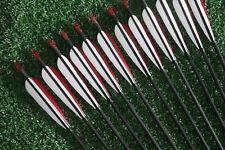 "12Pcs Hunting 33"" Carbon Arrows Turkey Feather Hunter Nocks Archery Recurve Bow"