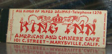 Vintage Early Midget Matchbook Cover X3 California Marysville King Inn Dragons
