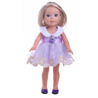 """Doll Clothes 14.5"""" Dress Lavender Embroidered Fits 14.5"""" AG WELLIE WISHER DOLLS"""