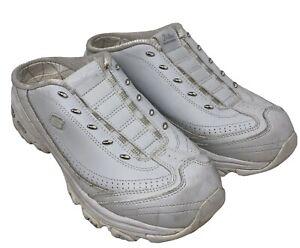 Sketchers Di' Lites 11582 Leather Sneaker Clogs in White w Silver Trim 11 Womens