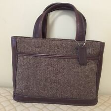"COACH ""Bleecker"" Satchel Handbag / Brown Leather & Wool Tweed Herringbone #6126"