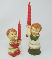"""Vintage Boy 7"""" & Girl 9"""" Hand Painted Holders by Star Japan Red Twisted Candles"""