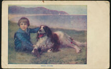 Old postcard Good Chums a Boy and his Dog  (LOT1070)
