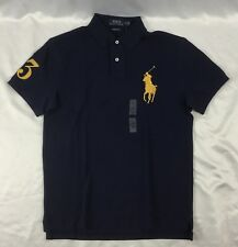 Ralph Lauren Me's Custom Slim Fit Polo Number 3 Patch Navy Blue Gold Size M