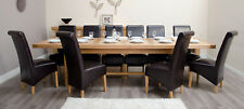 Belgrave Solid Oak Furniture Extra Large Dining Table and 12 Brown Chairs