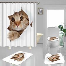 Naughty Cat Shower Curtain Bath Mat Toilet Cover Rug Funny Bathroom Decor