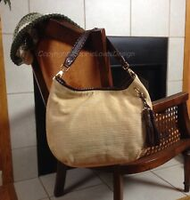 Michael Kors RARE Bennet Straw Whipstitch Brown Leather Tassel Gold Large Hobo