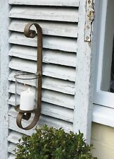 Rusty Rustic Scroll Metal Wall Hung Candle Holder Outdoor Lantern Hurricane