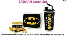 Tupperware Batman lunch set, tumbler, snack cup, sandwich keeper, kids
