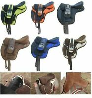 """Treeless Freemax Synthetic Horse Tack Saddle + Girth + Fly Veil Size 12"""" To 18"""""""